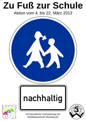 """Motiv """"nachhaltig"""" der Plakatserie zur Aktion """"Zu Fuß zur Schule"""""""