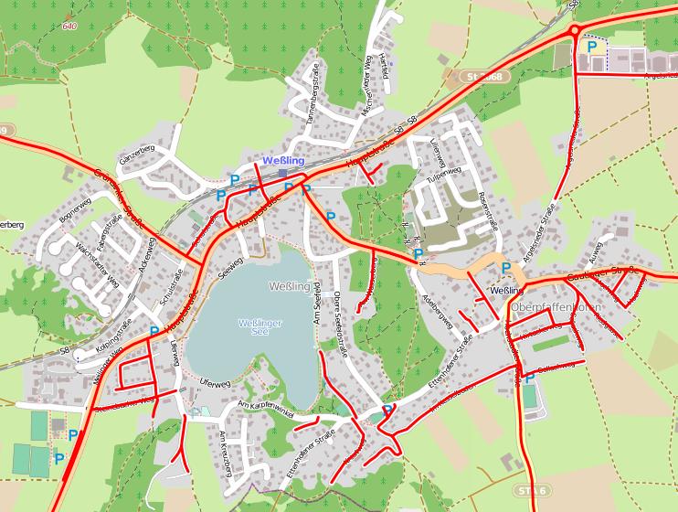 OSM Tempolimit-Karte (bitte anklicken): Straßen mit höchstzulässiger Geschwindigkeit über 30 km/h sind rot markert